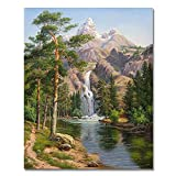 LIUDAO DIY Oil Painting, Paint by Numbers Kits on Canvas, 16x20 Inch Without Frame (Stone Pines Landscape)