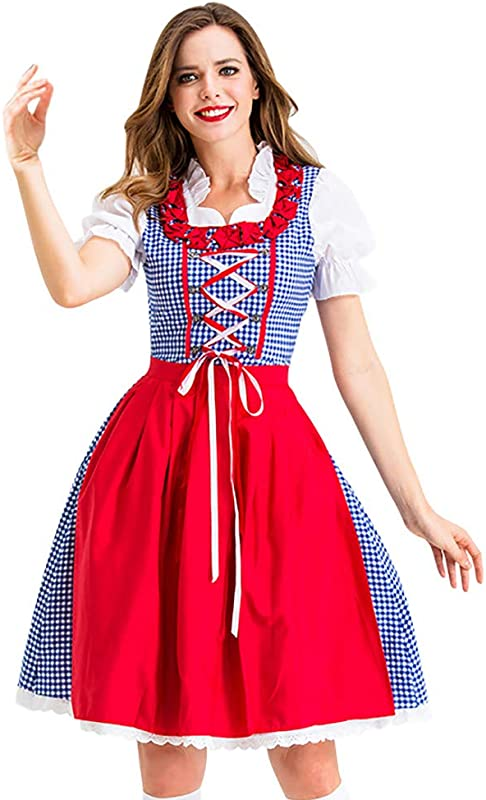 Onegirl Women Halloween Cosplay Costume Vintage Maid Wear Dress And Apron German Bavaria Maid Dress
