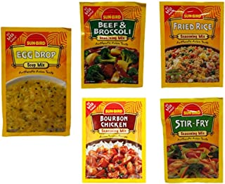 Sun Bird No MSG Added Asian Seasoning and Soup Mix 5 Flavor Variety Bundle, 1 each: Beef Broccoli, Stir-Fry, Fried Rice, Bourbon Chicken, Egg Drop Soup (.74-1.25 Ounces)
