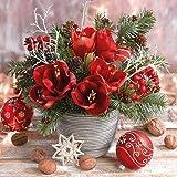 Papier Servietten Lunch/Party / Fest Ca. 33x33cm - Amaryllis Bouquet - Herbst - Winter - Weihnachten - Ideal Als Geschenk Und Tisch Deko