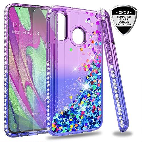 LeYi Funda Samsung Galaxy A40 Silicona Purpurina Carcasa con [2-Unidades Cristal Vidrio Templado], Transparente Cristal Bumper Gel TPU Fundas...