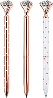 Best ZZTX 3PCS Big Crystal Diamond Ballpoint Pen Bling Metal Ballpoint Pen Office Supplies, Rose Gold/White With Rose Polka Dots/Rose Gold With White Polka Dots, Includes 3 Pen Refills Review