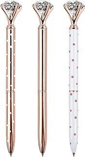 ZZTX 3PCS Big Crystal Diamond Ballpoint Pen Bling Metal Ballpoint Pen Office Supplies, Rose Gold/White With Rose Polka Dots/Rose Gold With White Polka Dots, Includes 3 Pen Refills