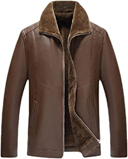 Mens Winter Long Sleeve Warm PU Leather Coat Real Fur Faux Leather Jacket