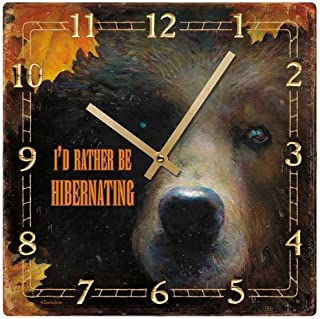 Wild Wings Hibernating - Grizzly Bear Square Clock by Marsie Danielson