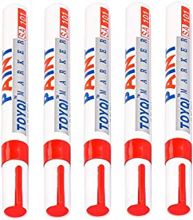 Permanent Markers Tire Ink -Permanent Marker Pen Colorful Waterproof Metal Oilly Fill Paint for Car Tires Glass Wood Metal Carwash Safe (Red, 5pcs)