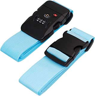 BlueCosto Luggage Strap TSA Approved Combination Lock Adjustable Suitcase Straps Travel Belt - Blue