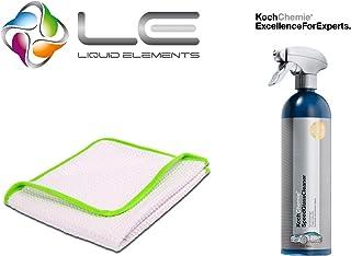 detailmate Koch Química Speed Cristal limpiador 750ml & Liquid Elements Streak Buster–Disco para microfibra paño limpiador, 400gsm, 35x 35cm, cristal paño de limpieza, discos paño de limpieza