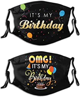 Tequfe 2 Pcs Birthday Gifts Face Mask Adjustable Reusable Decor Face Bandanas Masks With 2 Filters For Men Women