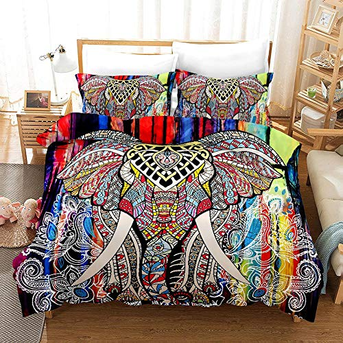 YYDD Duvet Cover Sets 3D Ethnic Wind Elephant Printing 3 Piece Set Bedding Microfiber Used For Gift (1 Duvet Cover + 2 Pillowcases) -Clean Beautiful D-King(259x229cm)
