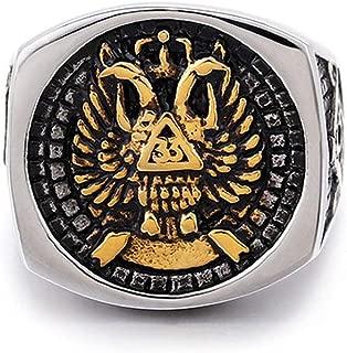 Gungneer Silver Scottish Rite Eagle Masonic Ring Freemasonry Signet Item Aceesory for Men
