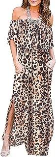Women's Off Shoulder Leopard Maxi Dress Ruffle Party Side Split Beach Maxi Dresses Pockets