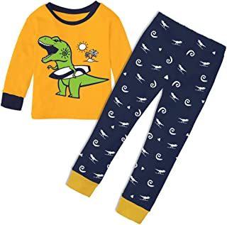 19d2b4609f Idakoos Dinosaurs Boys Kids Pajamas 100% Cotton 2 Pieces Long Sets PJS