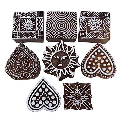 Knitwit Holzklötze Menge 8 Stück Von Hand Geschnitzt Textildruckblock Blockprinting