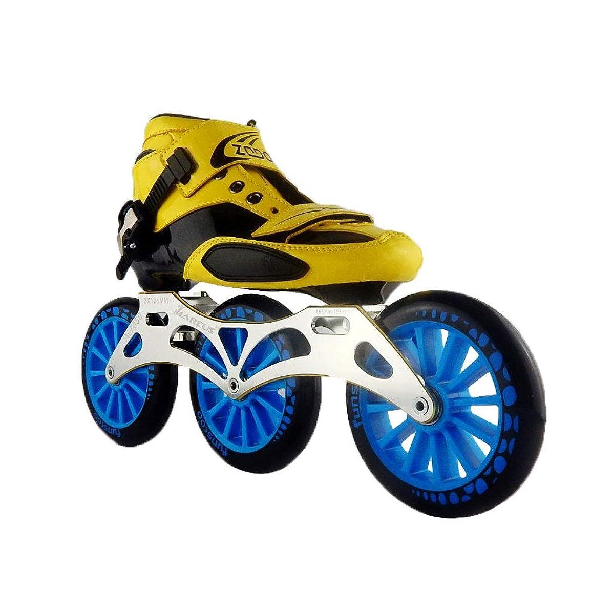 デコラティブ助けになる焦がすスポーツ インラインスケート 、 スピードスケートシューズ3 * 125MM調整可能なインラインスケート、ストレートスケートシューズ(5色) 向け サイズ調整 (Color : Black, Size : EU 44/US 11/UK 10/JP 27cm)