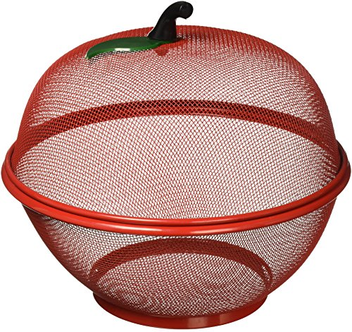 Style Asia Apple-Shaped Basket, Mesh Fruit Holder, Red