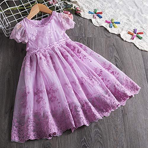 kengbi Komfortables und exquisites Kleid Kinder Kleider for Mädchen Kurzarm Kleid Pailletten Party Kostüm Fairy Sommer Puffy Kleid Regenbogen Kinder Kleidung (Color : 8 1, Kid Size : 5)