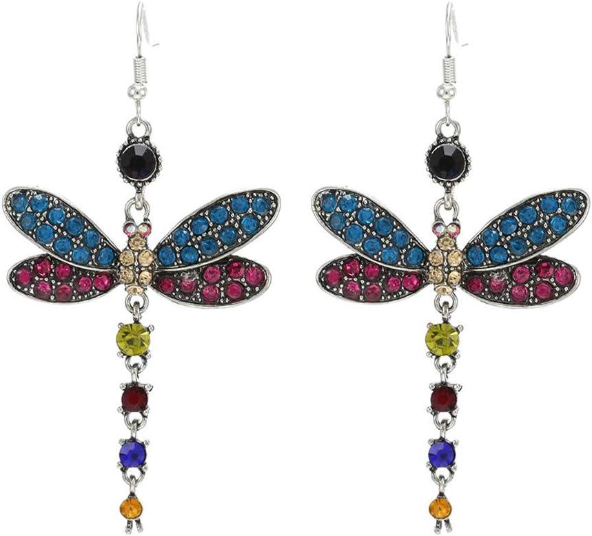 Essencedelight Women Dragonfly Hook Earrings Retro Insect Pendant Drop Earring Dragonfly Design Jewellery Gift,blue