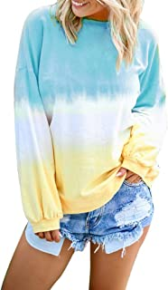 LIM&SHOP Women's Loose Long Sleeve Comfy Swing Tunic Top Blouse T-Shirt Tee Tie Dye Color Block Sweater Pullover