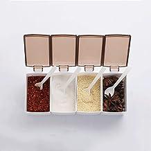 SPNEC Wallmounted Kitchen Cooking Salt Shaker Seasoning Box Rack Spoon Sugar Seasoning Tank Storage Jar Vanilla Seasoning Set