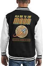 Retro Pixel Fly Me To The Moon Kid's Varsity Jacket