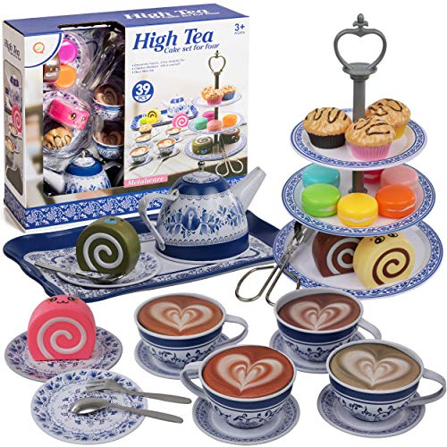 IQ Toys Tea and Cake Set Pretend Play Tea Party - 39 Piece Vintage Designed Porcelain Look Play food accessories Set for Kids with Teapot, Saucers, Tea Cups