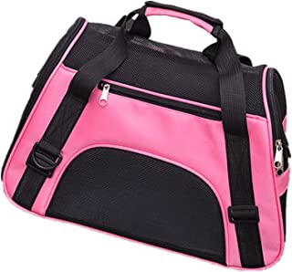 Dog Cat Portable Soft Outdoor Bag Foldable with Mesh Window S-L(Pink)
