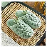 HZMM Pantuflas de algodón Zapatillas De Algodón Femenino Otoño Invierno Fruta Encantadora Piña Ladies Zapatos Redondos Toe Interior Sofal Soft Piso Slippers (Color : Green, Shoe Size : 36 37)