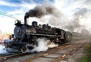 Leowefowa 7x5ft Essex Steam Train Photo Backdrop Locomotive Steam Engine Train Chimneys Background Vintage Railway Station Old Railroad Vinyl Photography Background Kids Adults Portrait Photo Props