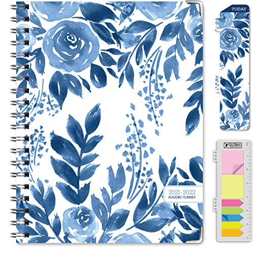 """HARDCOVER Academic Year 2021-2022 Planner: (June 2021 Through July 2022) 8.5""""x11"""" Daily Weekly Monthly Planner Yearly Agenda. Bookmark, Pocket Folder and Sticky Note Set (Blue Bloom)"""