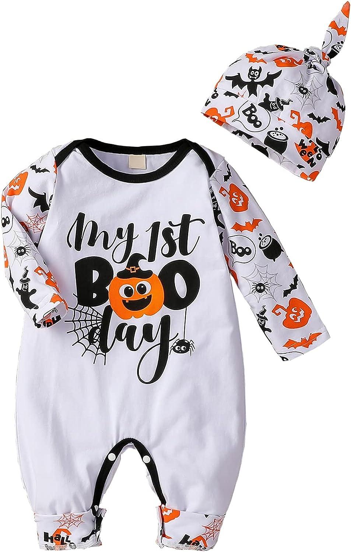 Infant Newborn Baby Girl Boy Long Sleeve Romper Unisex Baby Halloween Outfits 2Pcs Hat+Jumpsuit Clothes Set