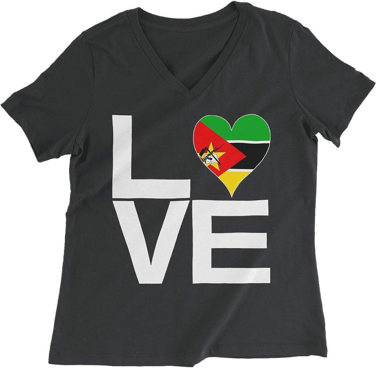 HARD EDGE DESIGN Women's Love Block Mozambique Heart T-Shirt