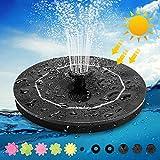 Frontoppy Solar Springbrunnen Schwimmend 3W mit 6 Arten von Düsen Teichpumpe und Monokristallinem Solarpanelbrunnen, Solarteichpumpe Solar Wasserpumpe Solarbrunnen für Gartenteich Oder Vogel Fisch
