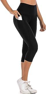 ThusFar Yoga Pants with Pockets for Women - High Waist Sport Runing Workout Capri Leggings