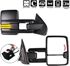 ECCPP Towing Mirrors, A Pair of Exterior Automotive Mirrors for 2014-2018 Chevy Silverado GMC Sierra with Running Lights Reversing Light Power Operation Heated Arrow Signal Black Housing
