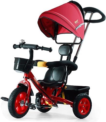 Fenfen Kinder Dreirad Warenkorb 1-7 Baby Bike Kinder dreir igen Kinderwagen fürrad, rot, blau, 85  50  10cm   (Farbe   rot)