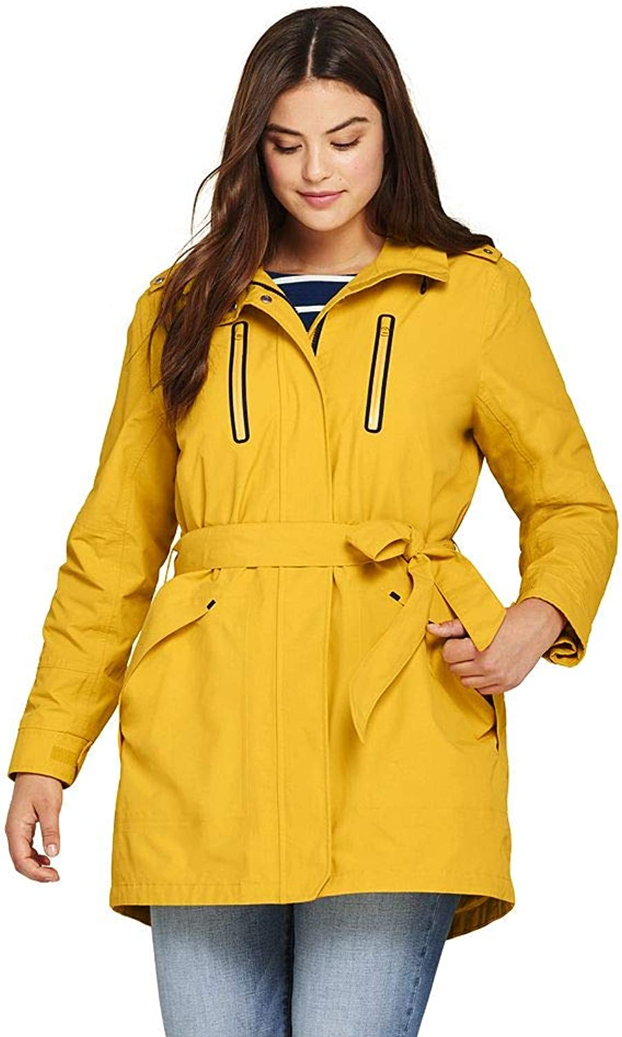Lands' End Women's Plus Size Lightweight Belted Squall Rain Coat