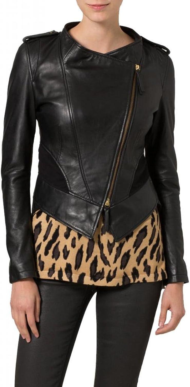 Leather Women's Lambskin Leather Bomber Biker Jacket W082