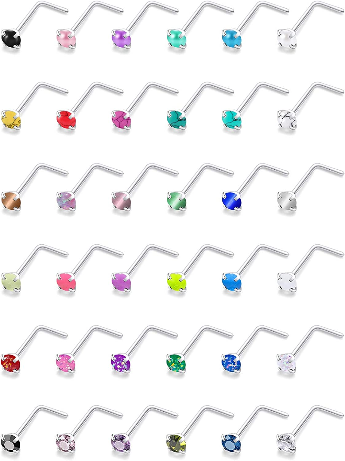 Dyknasz 36Pcs 20G Max 86% OFF Stainless Steel Stud Nose CZ Glow Miami Mall Opal in Ring
