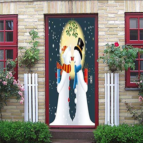 ZWLZJO 3D-dörrdekal jul snögubbe pardörr väggmålning konst dörrklistermärken 95 x 215 cm för barnrum vattentät självhäftande avtagbar barn flickor sovrum badrum toalett hem