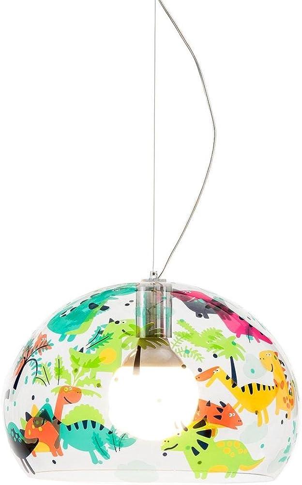 Kartell small fl/y, lampada a sospensione con motivo design transparent/motiv dinosauri 09853XX