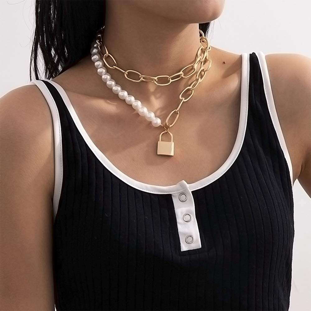 Aimimier Chunky Paperclip Chain Link Necklace with Lock Pendant Pearl Choker Necklace 2 Pcs Prom Party Festival Statement Jewelry for Women and Girls (Gold)