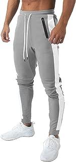 BIYLACLESEN Men's Cotton Running Pants Zipper Pockets Lightweight Workout Gym Jogger Sweatpants Athletic Jersey Pants
