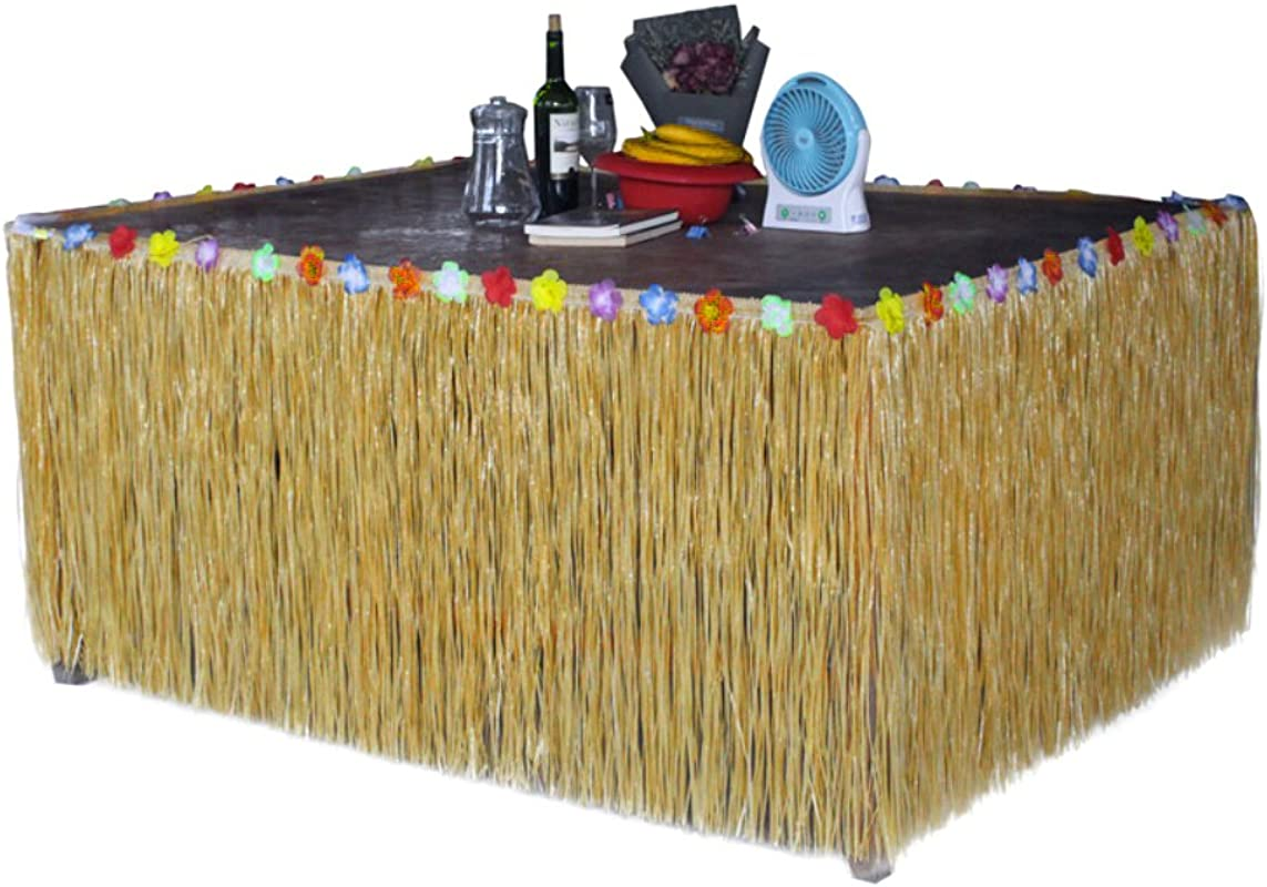 Homedeco Hawaiian Grass Table Skirt Luau Hibiscus Green String Colorful Silk Faux Tropical Flowers Birthday Party Decorations