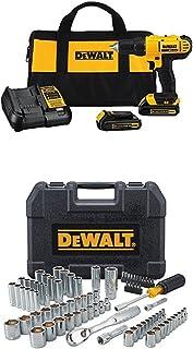 DEWALT 20V MAX Cordless Drill / Driver Kit, 1/2-Inch with Mechanics Tool Set, 84-Piece (DCD771C2 & DWMT81531)