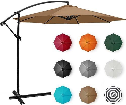 popular BELLEZE Patio Umbrella 10 Ft Offset Cantilever Umbrella Outdoor Market outlet online sale Hanging Umbrellas and Crank 2021 w. Cross Base, (Beige) outlet online sale