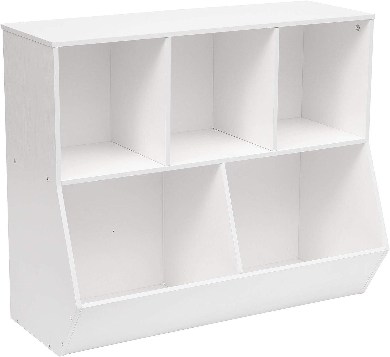 HOOBRO Kids Bookshelf, Bookcase Footboard, Toy Storage Cubby, Children's Toy Shelf, Toy Storage Cabinet, Suitable for Children's Room, Playroom, Hallway, Kindergarten, School, White WT32CW01
