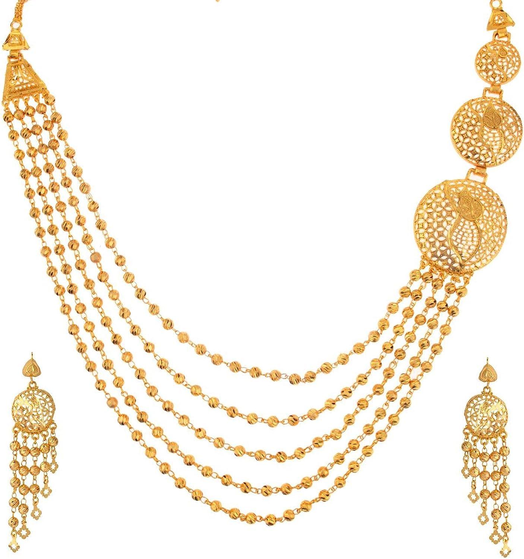 Efulgenz Indian Style Bollywood Fashion Gold Tone Wedding Bridal Pendant Locket Tassel Choker Collar Necklace Earrings Jewelry Set