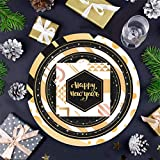 Piatti da dessert per cena e dessert, con scritta 'Happy New Year' (lingua italiana non garantita) e 18 piatti di carta e 20 tovaglioli per feste di Capodanno