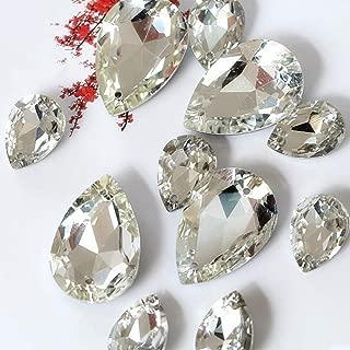 50PCS Teardrop Crystal Sew On Rhinestone Pointback Glass Sew on Stone Droplet Sewing Rhinestone for Wedding Dress (10x14mm)
